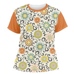 Swirls & Floral Women's Crew T-Shirt (Personalized)