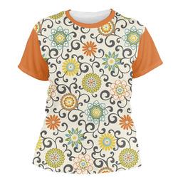Swirls & Floral Women's Crew T-Shirt (Personalized)