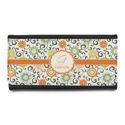 Swirls & Floral Leatherette Ladies Wallet (Personalized)