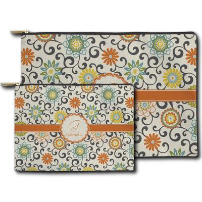 Swirls & Floral Zipper Pouch (Personalized)