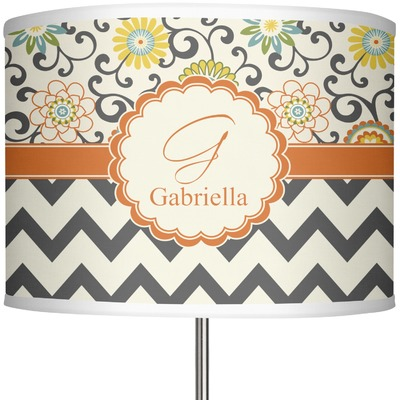 "Swirls, Floral & Chevron 13"" Drum Lamp Shade (Personalized)"