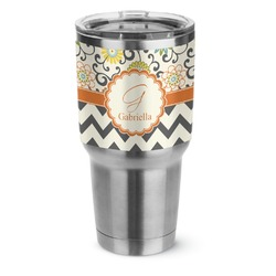 Swirls, Floral & Chevron Stainless Steel Tumbler - 30 oz (Personalized)