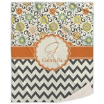 Swirls, Floral & Chevron Sherpa Throw Blanket (Personalized)