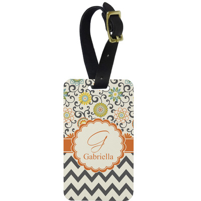 Swirls, Floral & Chevron Metal Luggage Tag w/ Name and Initial
