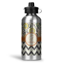 Swirls, Floral & Chevron Water Bottle - Aluminum - 20 oz (Personalized)