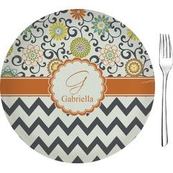 "Swirls, Floral & Chevron Glass Appetizer / Dessert Plate 8"" (Personalized)"