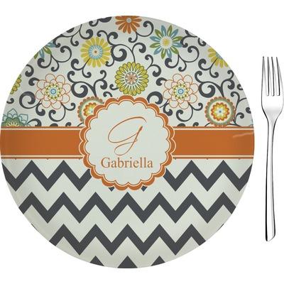 "Swirls, Floral & Chevron 8"" Glass Appetizer / Dessert Plates - Single or Set (Personalized)"