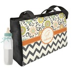 Swirls, Floral & Chevron Diaper Bag w/ Name and Initial