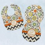 Swirls, Floral & Chevron Baby Bib & Burp Set w/ Name and Initial