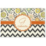 Swirls, Floral & Chevron Woven Mat (Personalized)