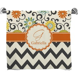 Swirls, Floral & Chevron Full Print Bath Towel (Personalized)