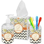 Swirls, Floral & Chevron Bathroom Accessories Set (Personalized)