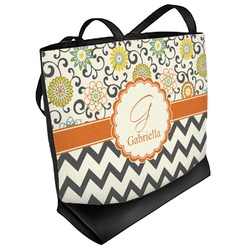 Swirls, Floral & Chevron Beach Tote Bag (Personalized)