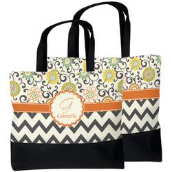 Swirls, Floral & Chevron Beach Tote Bag (Personalized)