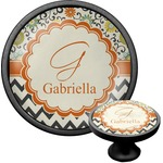 Swirls, Floral & Chevron Cabinet Knob (Black) (Personalized)