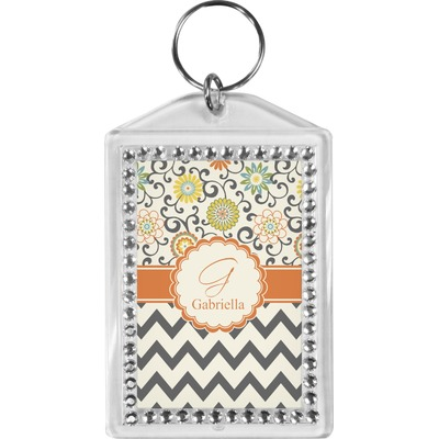 Swirls, Floral & Chevron Bling Keychain (Personalized)