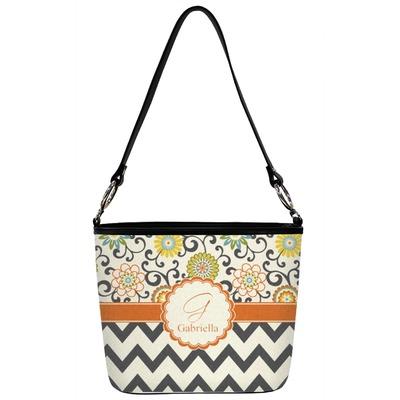 Swirls, Floral & Chevron Bucket Bag w/ Genuine Leather Trim (Personalized)