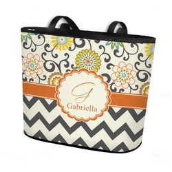 Swirls, Floral & Chevron Bucket Tote w/ Genuine Leather Trim (Personalized)