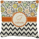 Swirls, Floral & Chevron Faux-Linen Throw Pillow (Personalized)