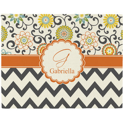 Swirls, Floral & Chevron Woven Fabric Placemat - Twill w/ Name and Initial