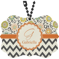 Swirls, Floral & Chevron Rear View Mirror Decor (Personalized)