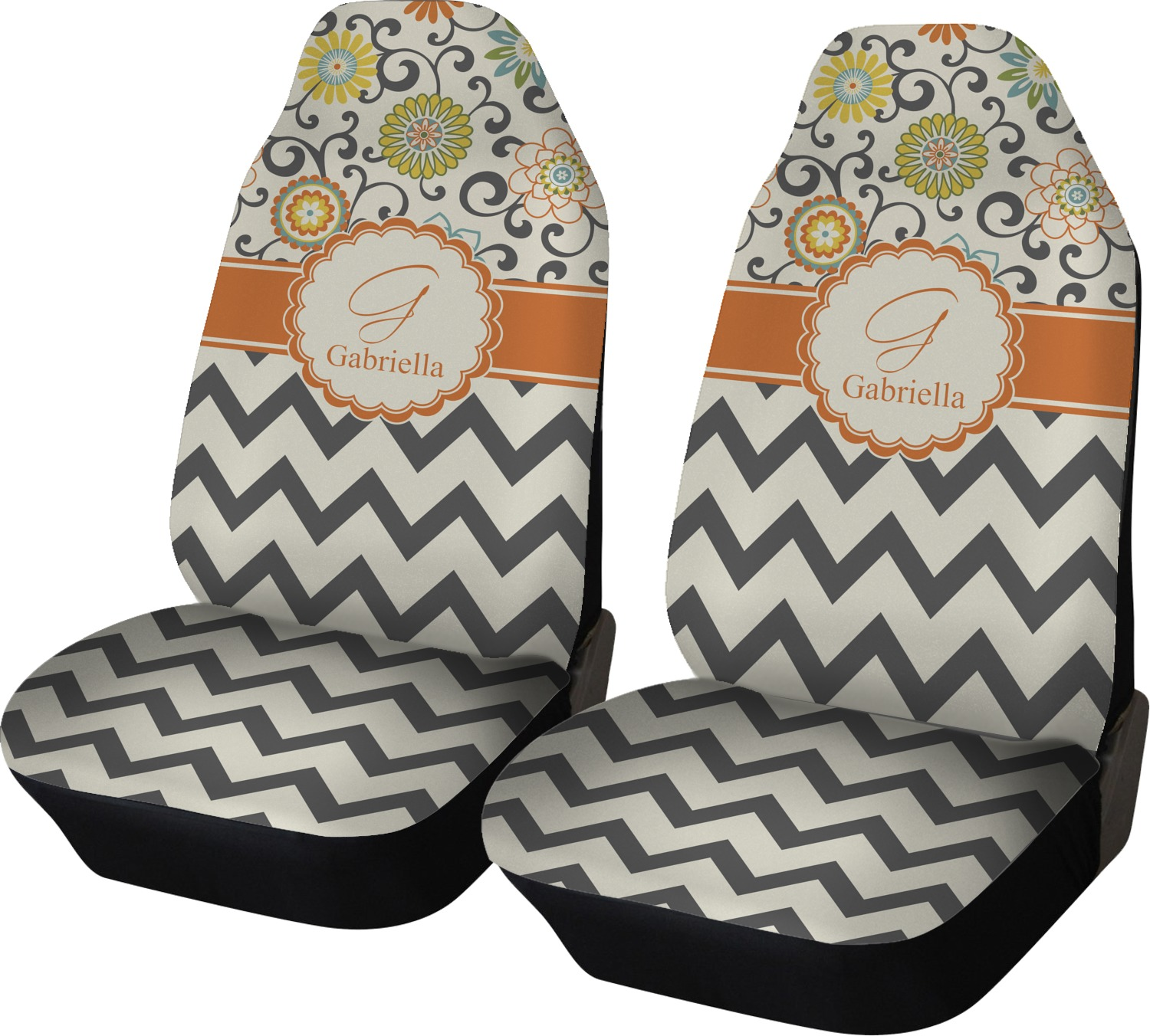 Swirls Floral Amp Chevron Car Seat Covers Set Of Two