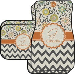 Swirls, Floral & Chevron Car Floor Mats Set - 2 Front & 2 Back (Personalized)
