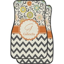 Swirls, Floral & Chevron Car Floor Mats (Front Seat) (Personalized)