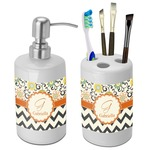 Swirls, Floral & Chevron Bathroom Accessories Set (Ceramic) (Personalized)