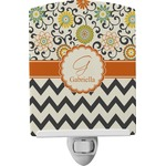 Swirls, Floral & Chevron Ceramic Night Light (Personalized)