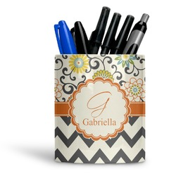 Swirls, Floral & Chevron Ceramic Pen Holder