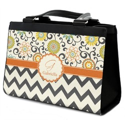 Swirls, Floral & Chevron Classic Tote Purse w/ Leather Trim (Personalized)