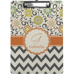 Swirls, Floral & Chevron Clipboard (Personalized)
