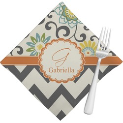 Swirls, Floral & Chevron Napkins (Set of 4) (Personalized)