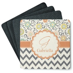 Swirls, Floral & Chevron 4 Square Coasters - Rubber Backed (Personalized)
