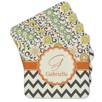 Swirls, Floral & Chevron Cork Coaster - Set of 4 w/ Name and Initial