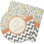 Swirls, Floral & Chevron Rubber Backed Coaster (Personalized)
