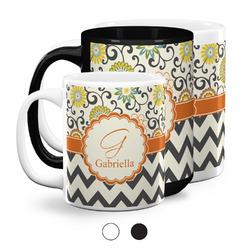 Swirls, Floral & Chevron Coffee Mugs (Personalized)