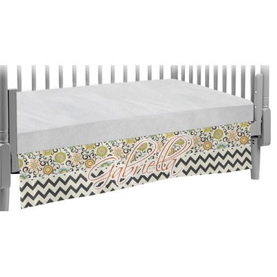 Swirls, Floral & Chevron Crib Skirt (Personalized)
