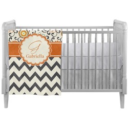 Swirls, Floral & Chevron Crib Comforter / Quilt (Personalized)