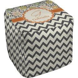 """Swirls, Floral & Chevron Cube Pouf Ottoman - 18"""" (Personalized)"""