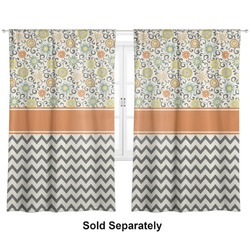 "Swirls, Floral & Chevron Curtains - 20""x54"" Panels - Lined (2 Panels Per Set) (Personalized)"