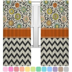 Swirls, Floral & Chevron Curtains (2 Panels Per Set) (Personalized)