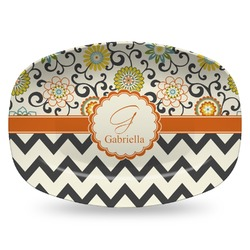 Swirls, Floral & Chevron Plastic Platter - Microwave & Oven Safe Composite Polymer (Personalized)