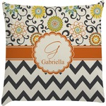 Swirls, Floral & Chevron Decorative Pillow Case (Personalized)