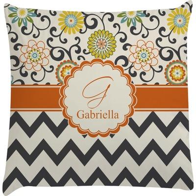 Swirls, Floral & Chevron Decorative Pillow Case (Personalized)