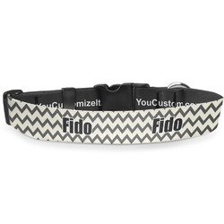 """Swirls, Floral & Chevron Deluxe Dog Collar - Small (8.5"""" to 12.5"""") (Personalized)"""