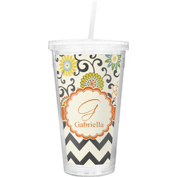 Swirls, Floral & Chevron Double Wall Tumbler with Straw (Personalized)