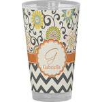 Swirls, Floral & Chevron Drinking / Pint Glass (Personalized)