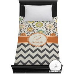 Swirls, Floral & Chevron Duvet Cover - Twin (Personalized)